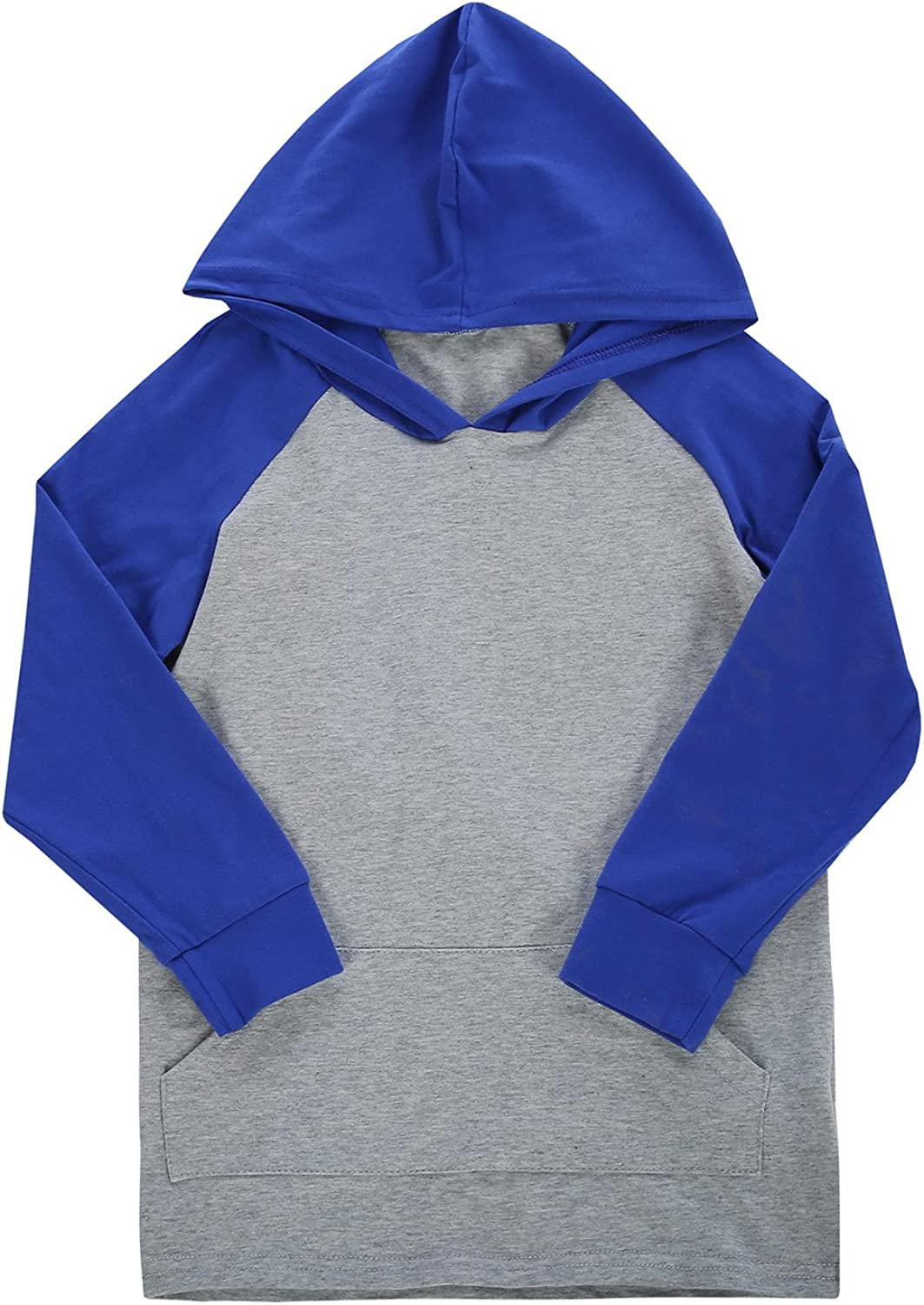 Daomumen Girls and Boys Long Sleeve Hoodie Shirts Color Block Lightweight Tops Front Sweatshirts with Pockets