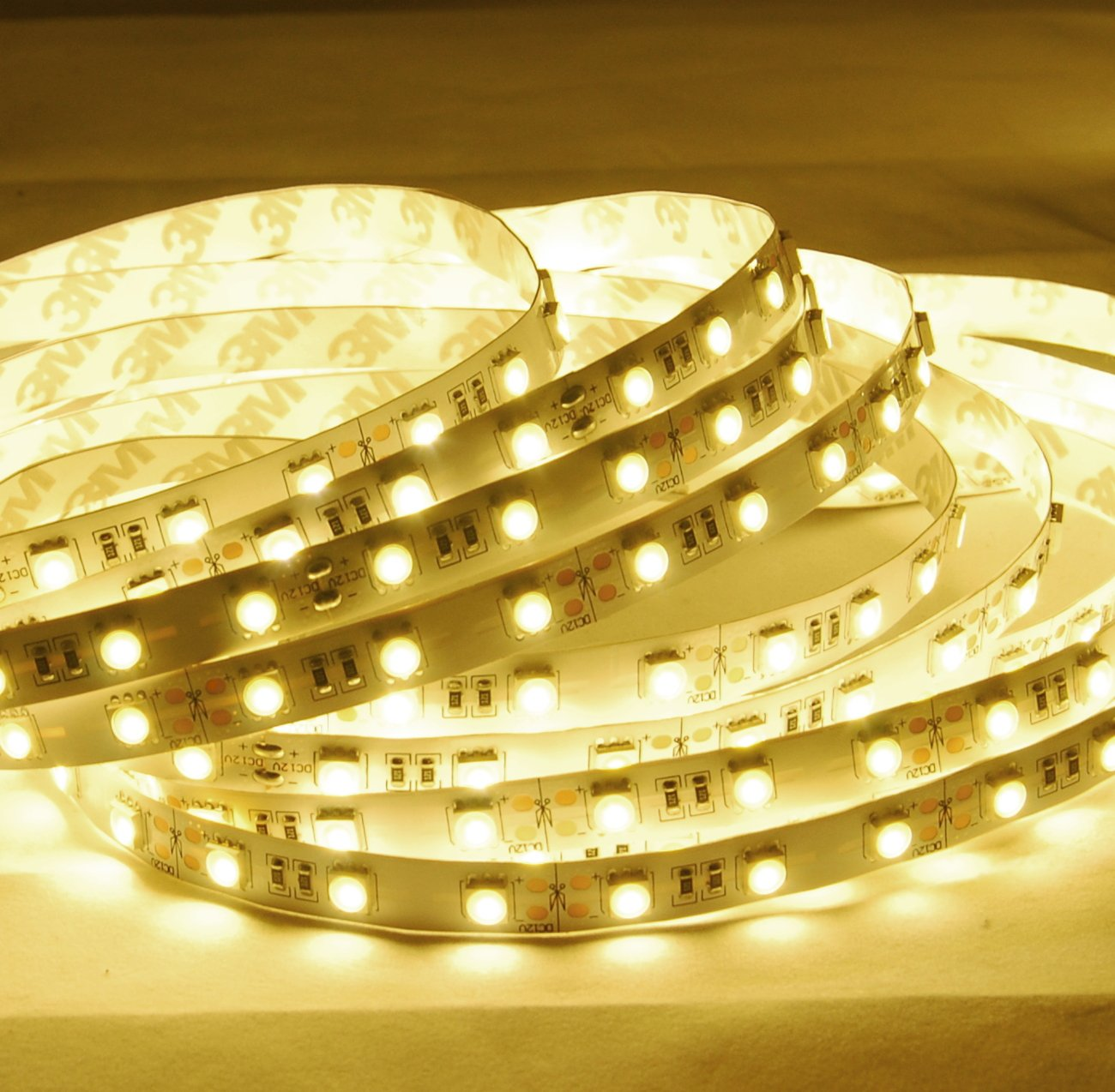 ABI Warm White LED Strip Light, 600 LEDs, 10 Meters / 32.8 Feet, SMD5050, 2800K, 24V DC (Adapter Not Included)