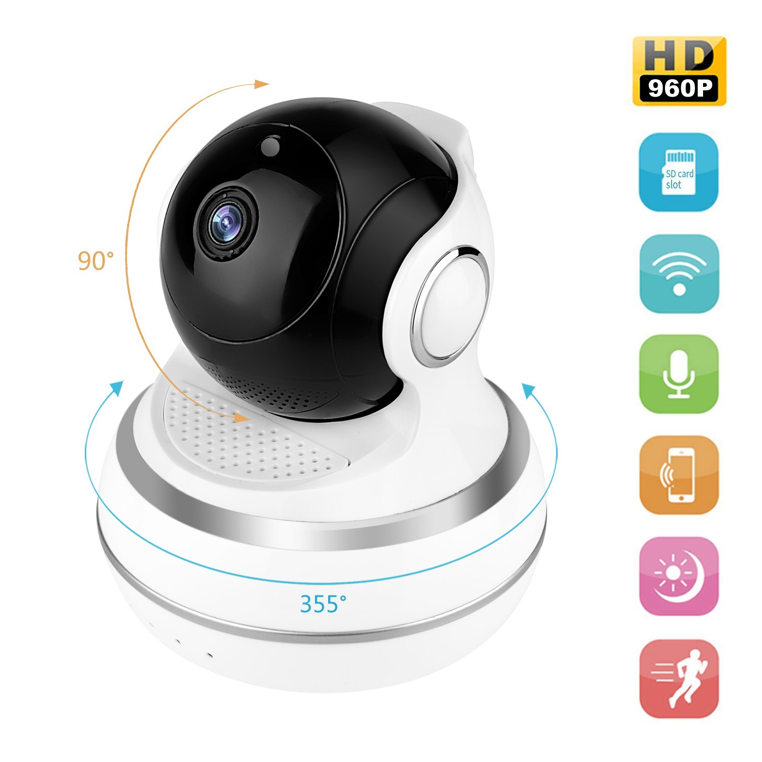 Dollermy Monitor Camera,960P HD Home WiFi Wireless Security Surveillance Camera with Motion Detection Pan/Tilt, 2 Way Audio and Night Vision Baby Monitor