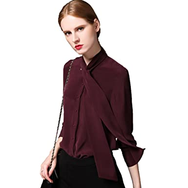 5e7506652e50d4 Chesslyre Women's 100% Silk Bow Blouse, Petite Slim Solid Work Silk Shirts  at Amazon Women's Clothing store: