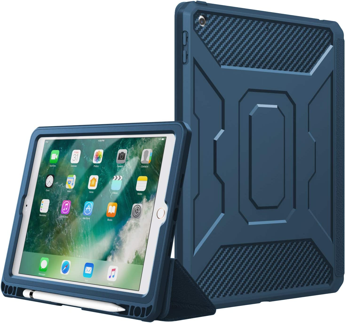 TiMOVO Case for 2017/2018 iPad 9.7 5th/6th Generation, Full-Body Shockproof Trifold Rugged Protective Case, [Built-in Screen Protector] with Auto Sleep/Wake & iPad Pencil Holder - Indigo