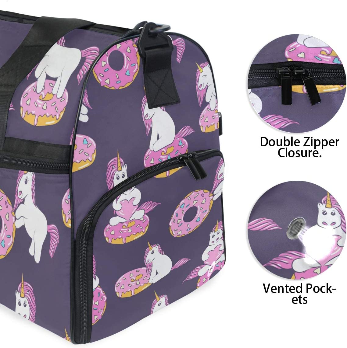 Travel Duffels Cute Baby Unicorns And Donuts Duffle Bag Luggage Sports Gym for Women /& Men