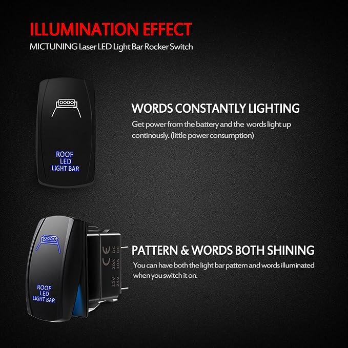 mx7000 light bar wiring diagram, amazon com: mictuning ls083001-hf,  laser roof led light bar on-