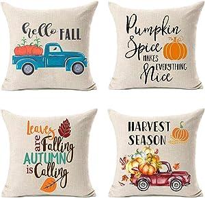 LEIOH Fall Decor Cotton Linen Harvest Season Truck Pumpkin Autumn Decorations Cushion Covers 18 x 18 Inch Hello Fall Sofa Home Decor Throw Pillow Covers Set of 4