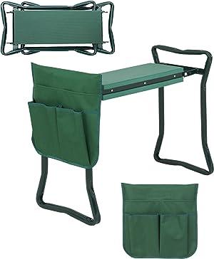 HomGarden Folding Garden Kneeler Seat Bench Stool w/Soft Kneeling Pad and Large Tool Pouch Foldable Gardener Stool