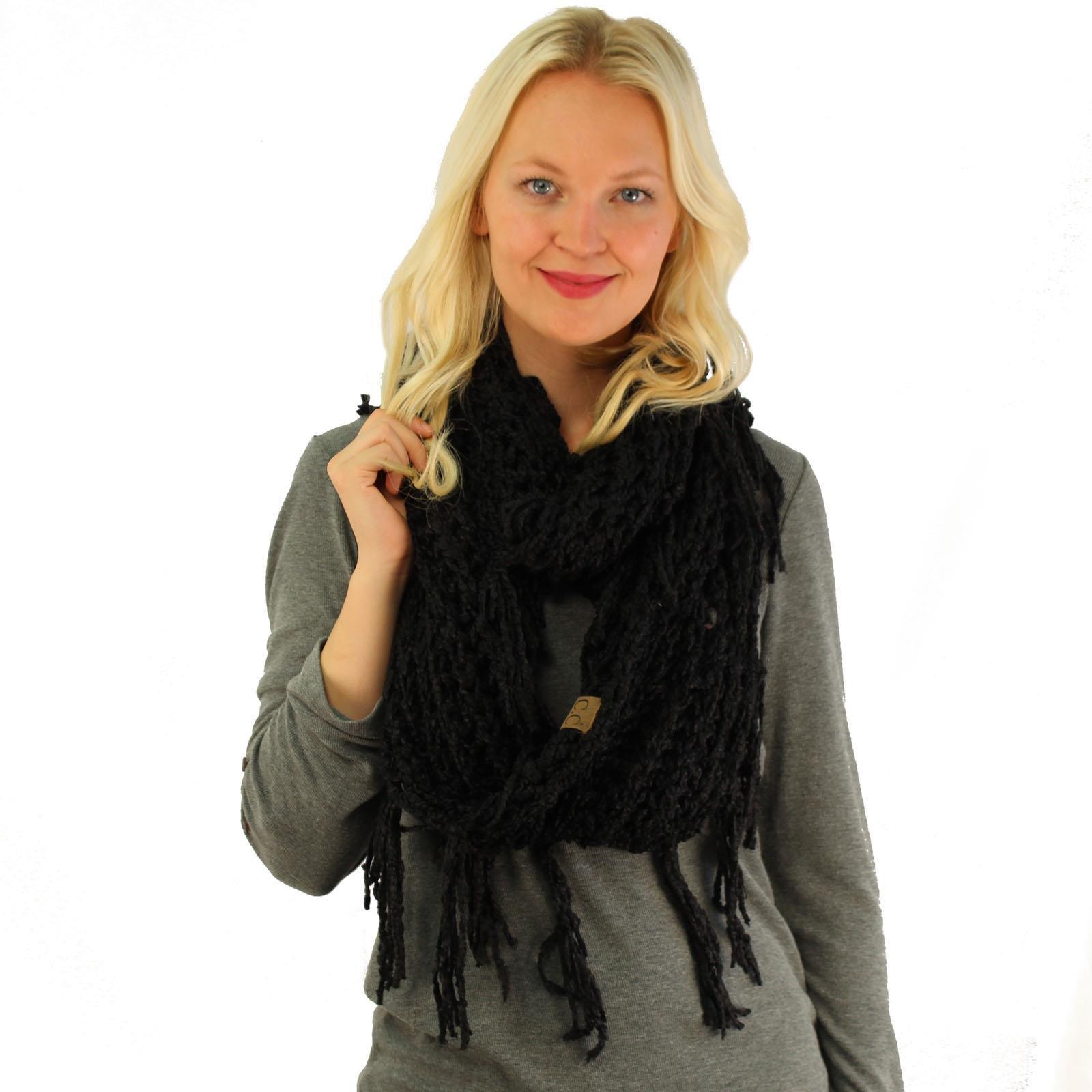 Winter CC Soft Chenille Net Tassle Fringe Thick Knit Infinity Scarf Wrap Black