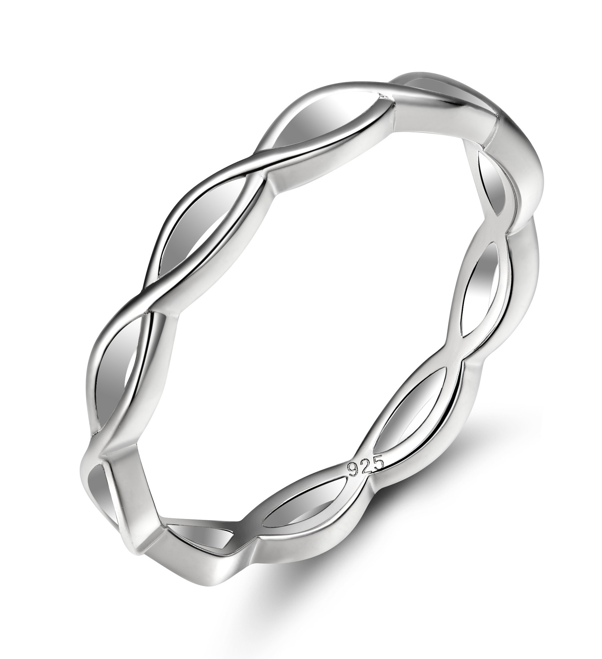 EAMTI 925 Sterling Silver Celtic Knot Ring Simple Criss Cross Infinity Wedding Band for Women Size 4-12