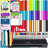 Silhouette BLACK CAMEO 3 Bluetooth Starter Bundle with 36 12x12 Oracal Sheets, Siser Easyweed T-Shirt Vinyl, Membership, Transfer Paper, Guide, Class, 24 Sketch Pens, and More