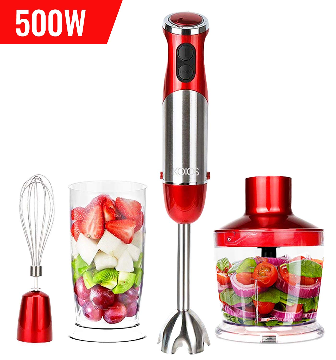 KOIOS Powerful 500 Watt Immersion Blender Setting 6-Speed Multi-Purpose 4-in-1 Hand Blender Includes Stick Blender, 500ml Food Processor, 600ml Mixing Beaker and Whisk - BPA-Free