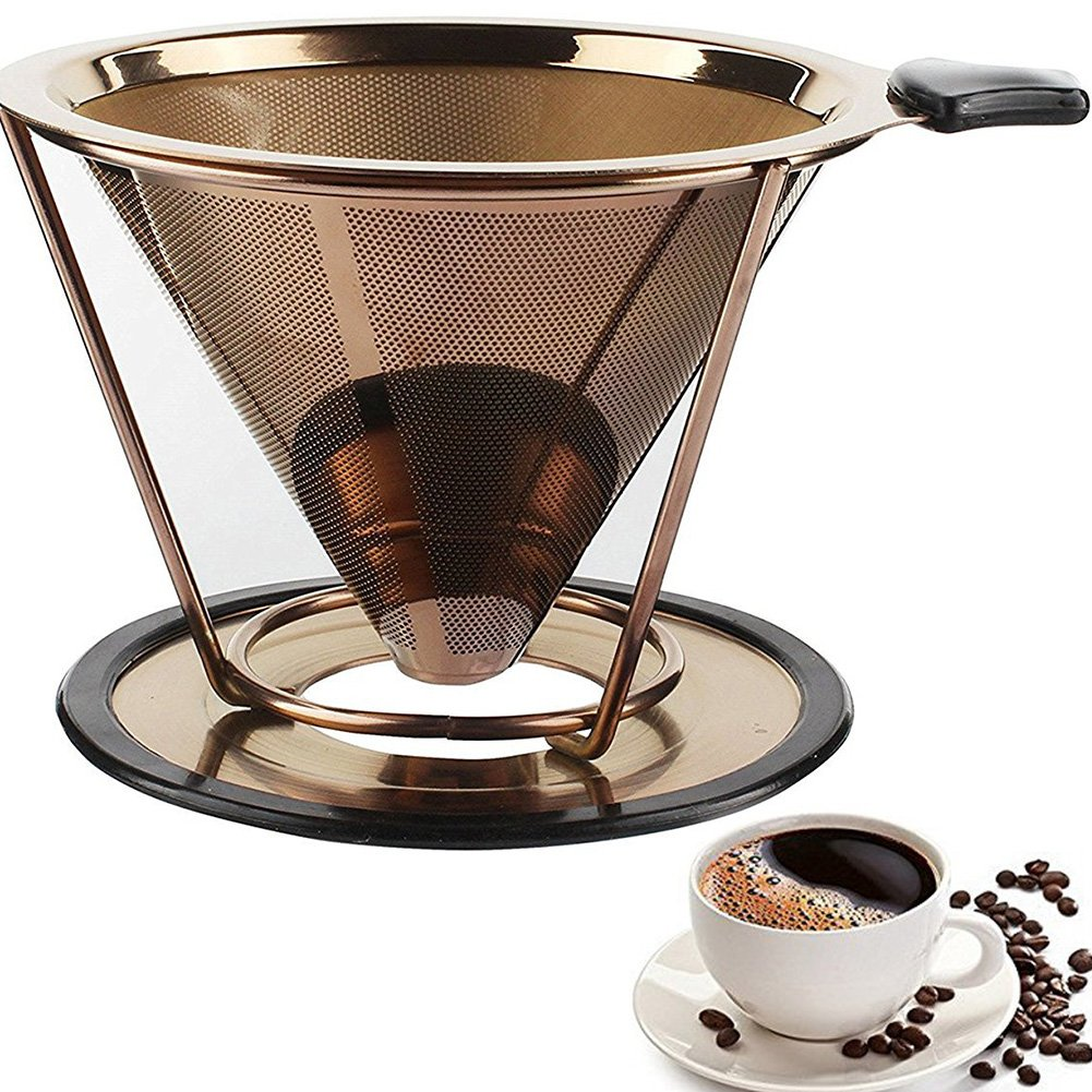 TITANIUM COATED GOLD Coffee Filter Double-layer pour over coffee dripper stainless steel Paperless Reusable infuser (Rose Gold, 2 cup)