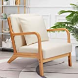 Esright Mid-Century Modern Accent Chair, Fabric Arm Chair, Retro Chair with Arm, Upholstery Linen, Living Room Furniture Beig