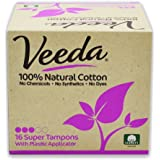 Veeda, 100% Hypoallergenic, Natural Cotton, Chemical Free,  Unscented, Super Tampons with Applicator, 16-Count