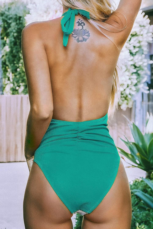 CUPSHE Damen Badeanzug Neckholder Raffung Gerippte Einteilige Bademode Swimsuit