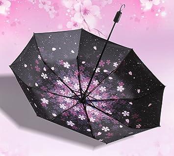 LYYUMBRELLAS ZHDC® Paraguas, Flores de Cerezo románticas Ms Mujeres LadyExtended Fold Sombrilla sombrilla (