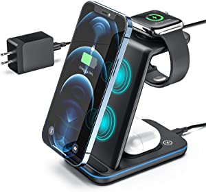 ZHIKE Wireless Charger, 3 in 1 Qi-Certified Wireless Charging Station for Apple Phones/iWatch/Airpods, 15W Fast Charger Stand Dock for iPhone 12 Pro Max Samsung All Qi-Enabled Phones(with Adapter)