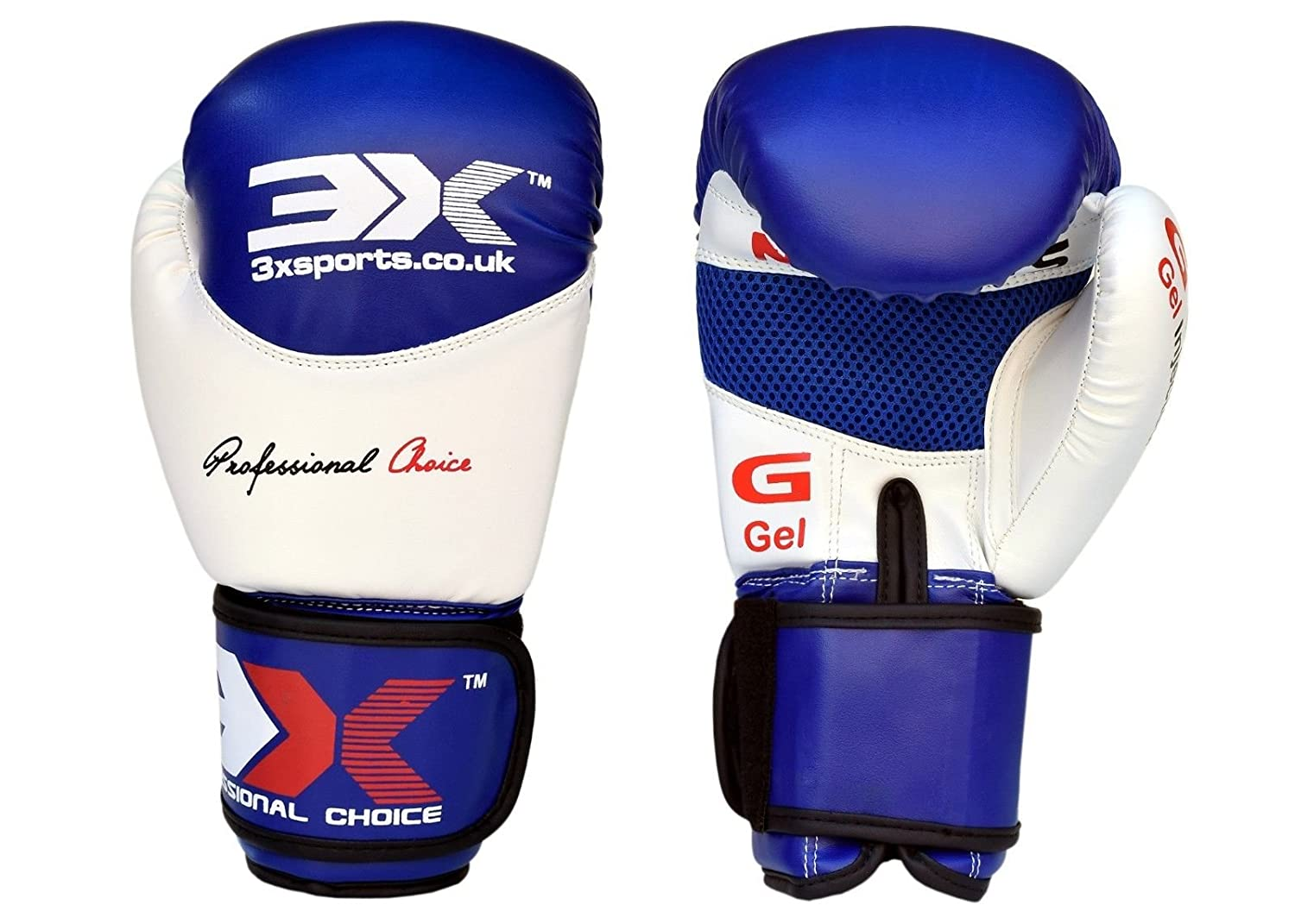 3 x Sports Leder Boxhandschuhe Muay Thai Sparring Training Handschuh Stanz Bag Mitts, 10oz, 12oz, 14oz, 16oz 3X Sports