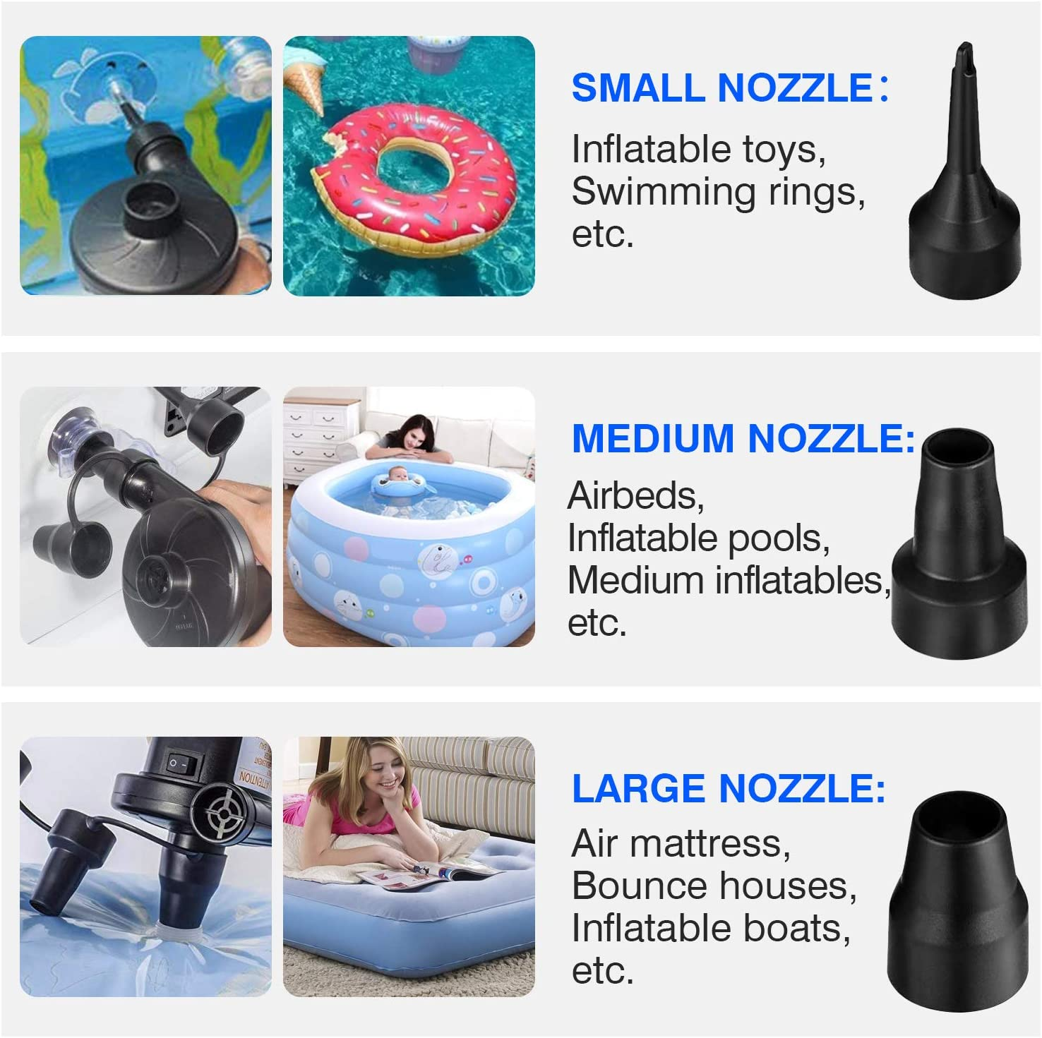 semai Electric Air Pump Portable Quick-Fill Air Pump for Inflatable Couch, Air Mattress, Swimming Ring, Inflatable Pool Toys, Powerful Electric Inflator/Deflator Air Pump with 3 Nozzles 110V AC: Sports & Outdoors