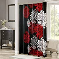 "Comfort Spaces Bath Curtains, CS70-0105, Fabric, Black/Red, 72""x72"""
