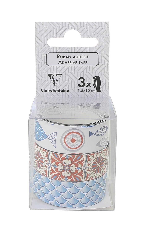 Clairefontaine 211446C D/écoratif adh/ésif Paquet de 3 Rubans 4x4 cm Scandinave