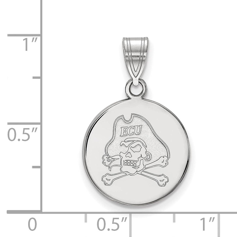 925 Sterling Silver Rhodium-plated Laser-cut East Carolina University Medium Disc Pendant