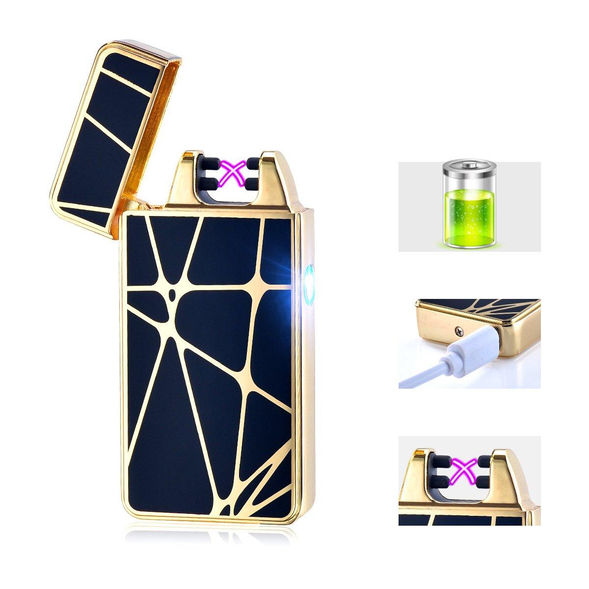 Accendino Arc elettrico antivento, ricaricabile con USB, senza fiamma, accendino per sigarette ricaricabile, ottimo regalo, senza gas, High-Gold