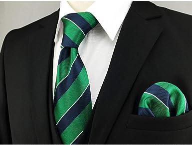 Shlax & Wing Rayas Corbatas Para Hombre Corbata de seda verde azul ...
