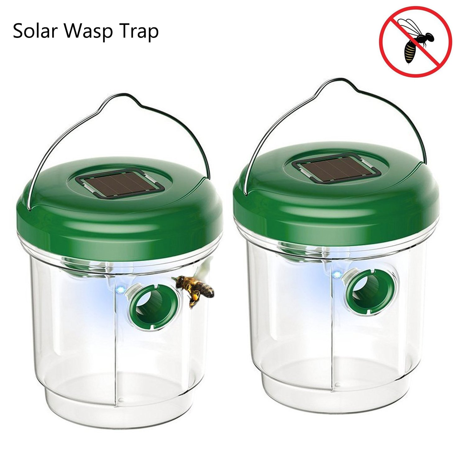 Kyerivs Wasp Trap Catcher with UV LED Light Upgraded Solar Powered Trap for Bees, Wasps, Hornets, Yellow Jackets, Bugs, Fly, Reusable(2 Pack)