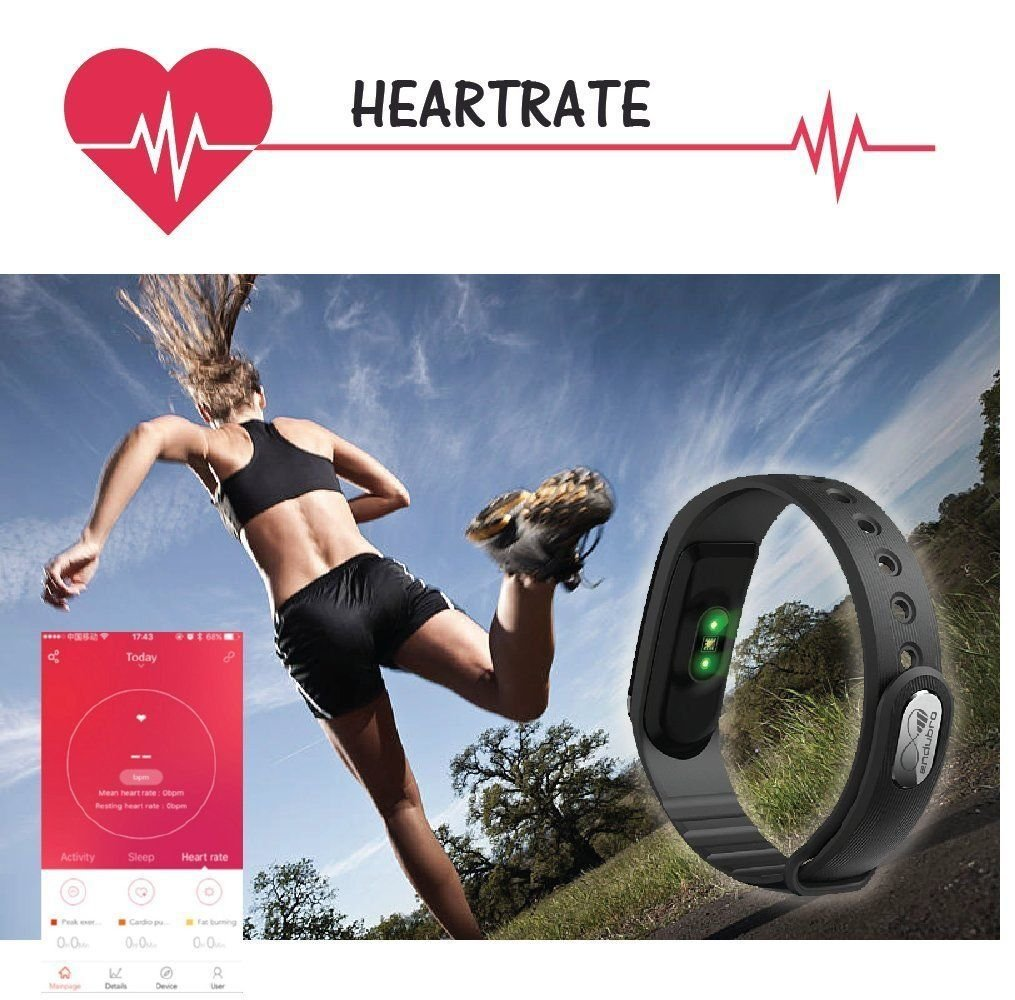 TopYart Heart Rate Fitness Tracker ID101 Smart Bracelet BT 4.0 IP67 Waterproof OLED Touch Screen Smart Band Pedometer Sleep Monitor for iPhone Android Smartphone