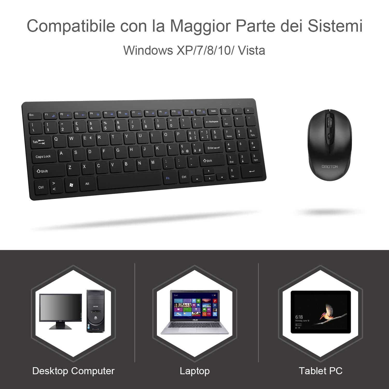 Ricevitore USB Incluso per Desktop//Laptop con Windows XP//7//8//10//Vista Nero Tastiera Ultra-Sottile da 2,4 GHz e Mouse Muto OMOTON Set di Tastiera Wireless e Mouse