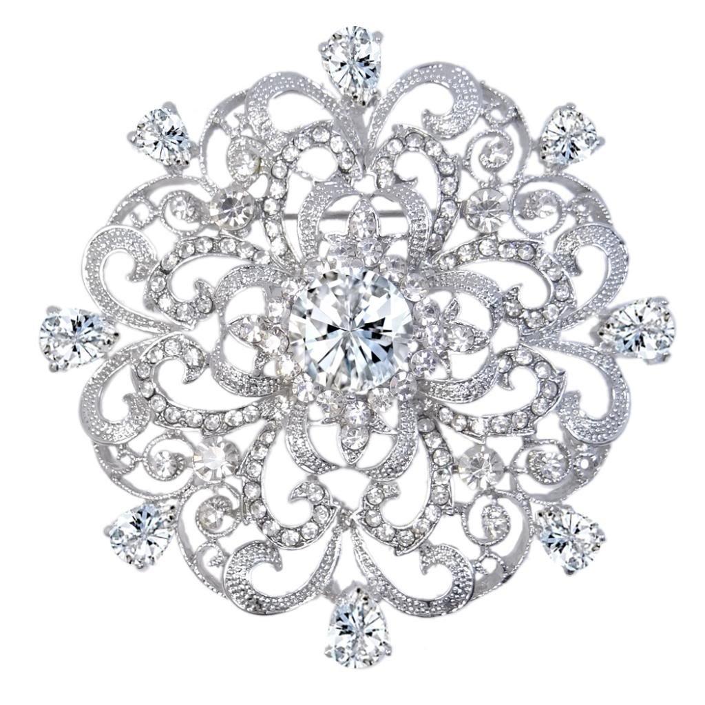 EVER FAITH Wedding Silver-Tone Fleur-de-lis Flower Brooch Pendant Clear CZ Austrian Crystal