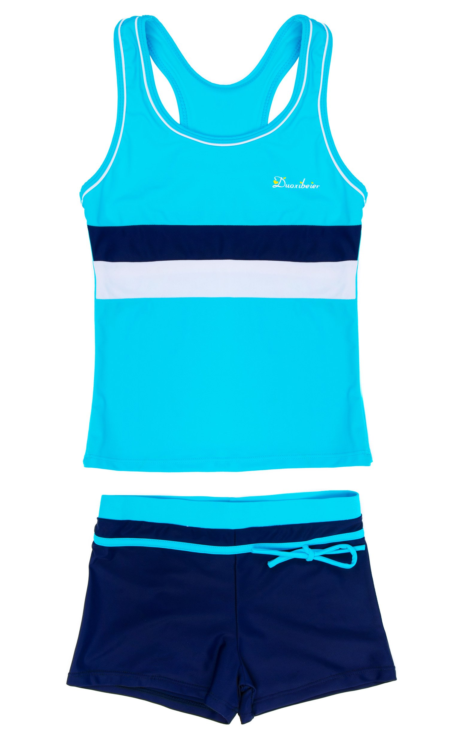 KABETY Little Girls Summer Two Piece Boyshort Fashion Tankini Swimsuit (Blue, 12-13=4XL)