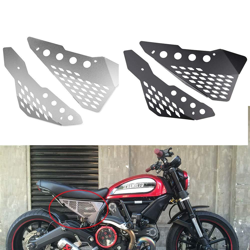 XX eCommerce Accessori Moto Alluminio Lato Centrale Telaio Copri Pannello Protezione Carena per Ducati Scrambler Sixty//Desert Sled//Full Throttle//Urban Enduro Nero