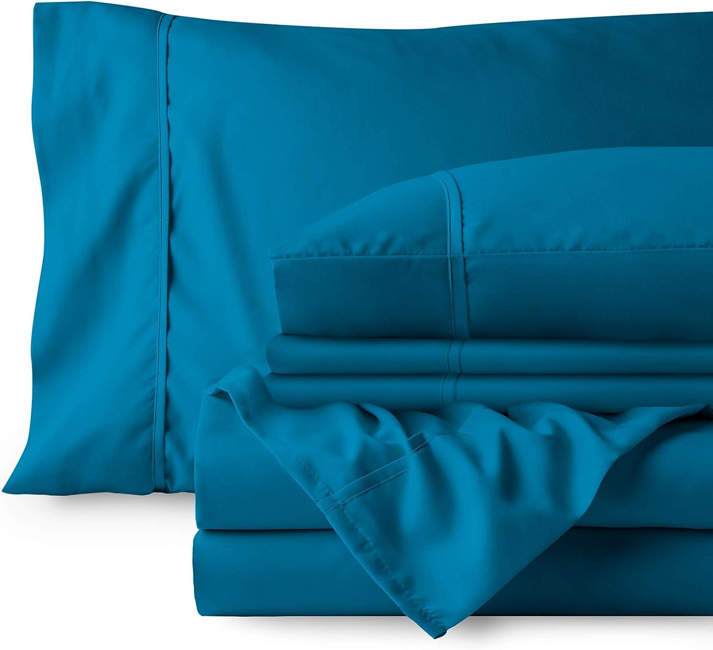 Bare Home Bedding Bundle - 6 Piece Microfiber Sheet Set with 4 Pillowcases (Full, Medium Blue)