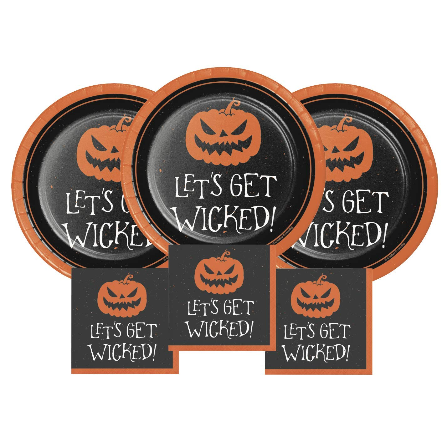 Halloween Plates and Paper Cocktail Napkins Party Supplies Disposable Large Set for 24 People''Let's Get Wicked'' by FAKKOS Design
