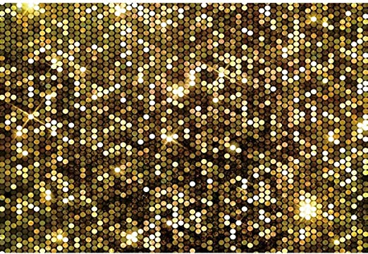 DaShan 14x10ft Gold Bokeh Spots Backdrop for Tea Party Newborn Wall Decor Baby Shower Birthday Graduation Prom Dance Party Photography Background Bridal Shower Wedding Table Banner Photo Props