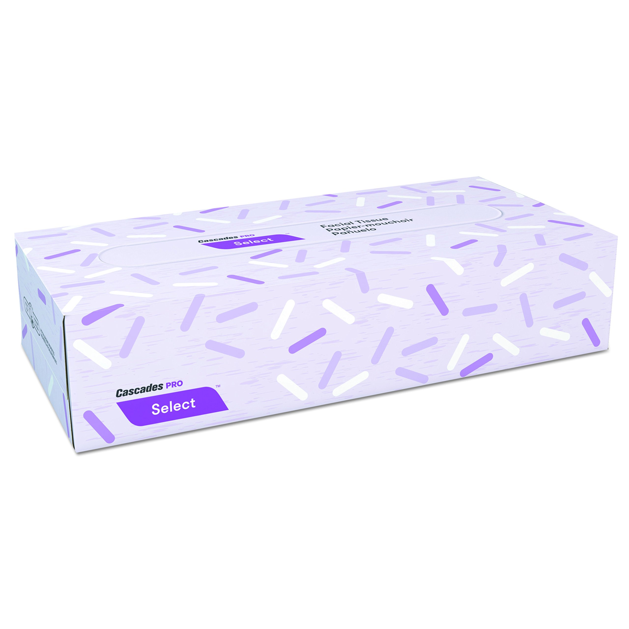 Cascades F150 PRO Select Flat Box Facial Tissue, 2-Ply, White, 8'' x 7 3/8'', Box of 100 (Case of 30 Boxes)