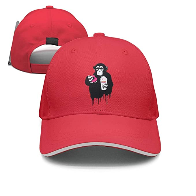 Amazon.com  Fast Food Monkey Fitted Baseball Cap red Cap  Clothing d76a9bc6055b