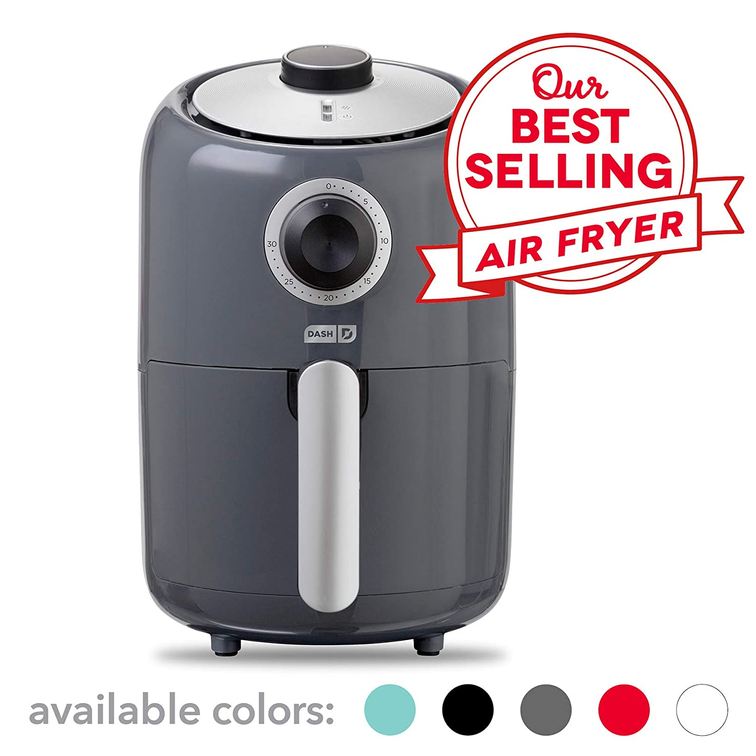 Dash Compact Air Fryer 1.2 L Electric Air Fryer Oven Cooker with Temperature Control, Non Stick Fry Basket, Recipe Guide Auto Shut off Feature – Grey