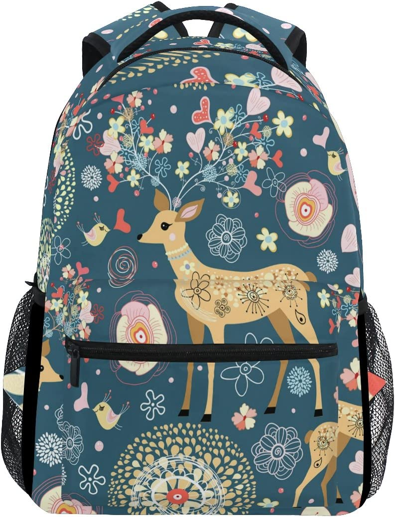 Cartoon Deer Flower Travel Laptop Backpack for School Girls & Boys Kids Elementary Animal Bird Heart Student Bookbag Daypack Shoulder Bag