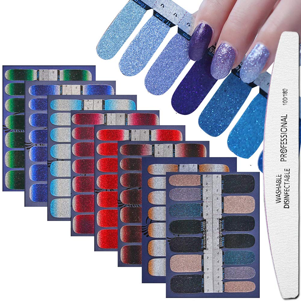 WOKOTO 8 Sheets Nail Art Polish Stickers Strips With 1Pcs Nail File Full Wraps Nail Adhesive Decals Gradient Glittery Manicure Kit For Women by WOKOTO