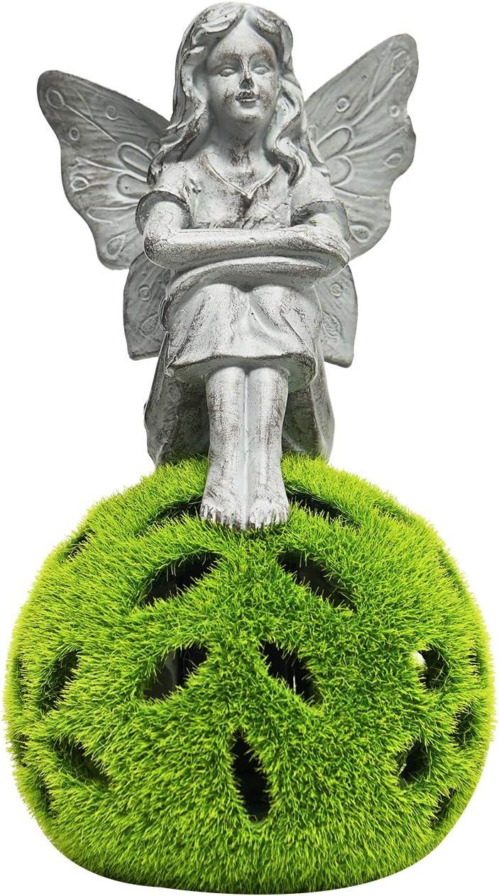 ASAWASA Flocked Solar Garden Statues and Sculptures Outdoor Decor,Garden Figurines with Solar Powered Lights for Patio,Lawn,Yard Art Decoration,Housewarming Garden Gift,4.9x4.9x9.3 Inch(Garden Fairy)