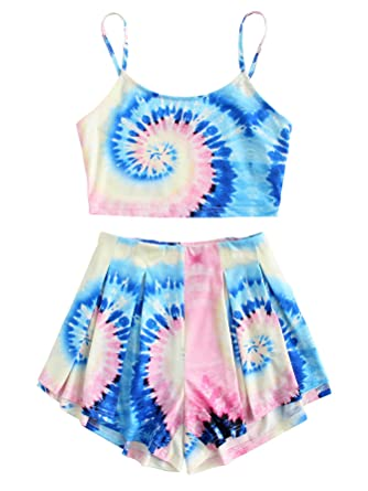 6d7996ef4f34 Floerns Women's Tie Dye Sleeveless Crop Top and Shorts Two Piece Outfits  Multi XS