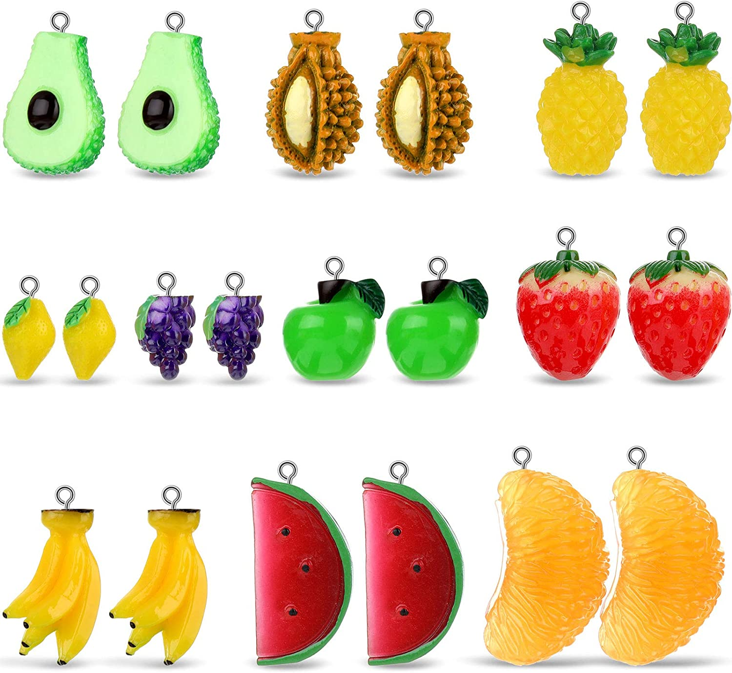 20 Pieces Fruit Pendants Charms 3D Imitation Food Fruit Pendants Resin Charms Strawberry Orange Banana Grape Charms Beads Hanging Ornament for Jewelry Making
