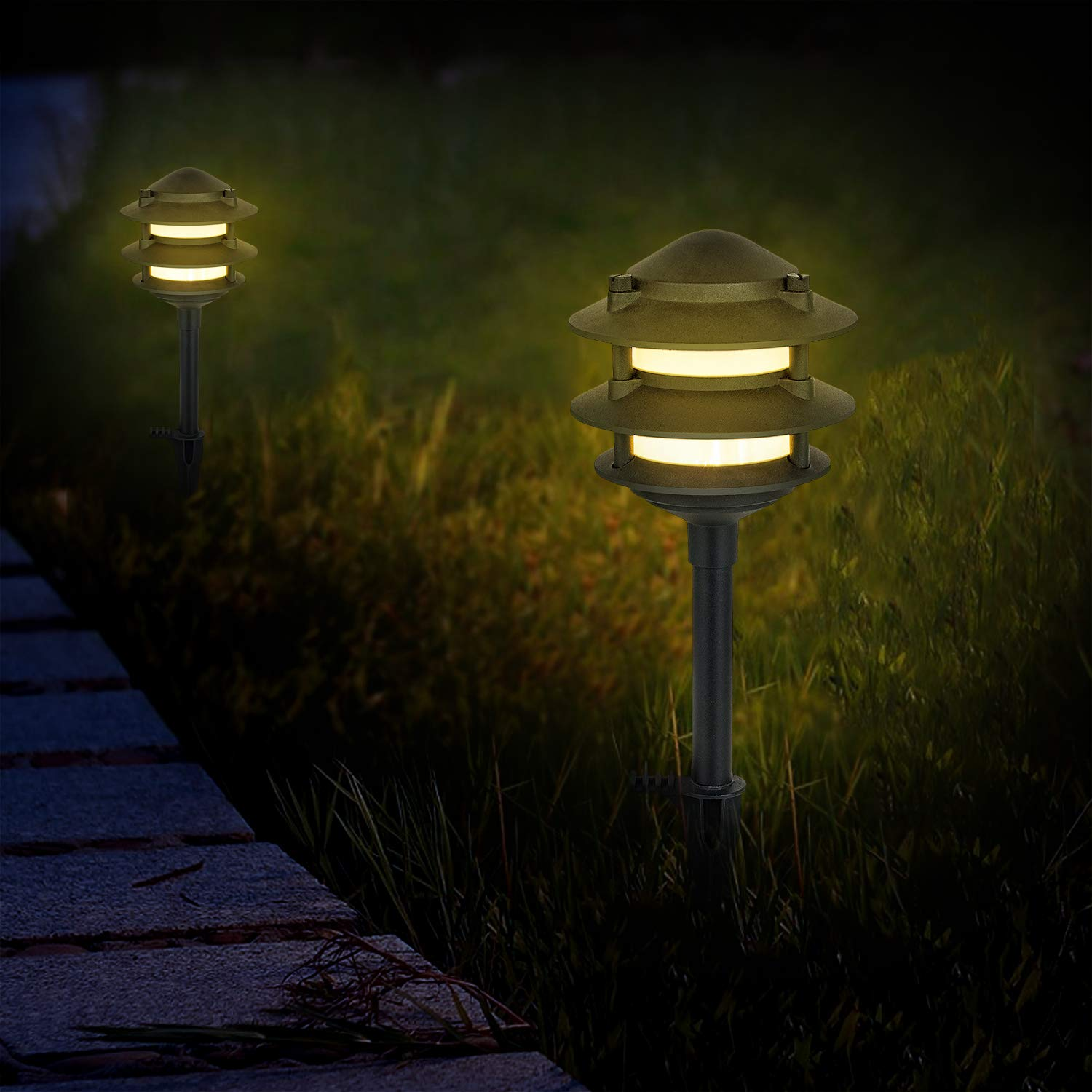 MOON BAY L03177-NA x 2 Pagoda Landscape Path Light, Low Volt 2W White LED, Waterproof for Outdoor Die-Cast Body and Frost Plastic Shade with Aluminum Spike, (2pack, Matt Black