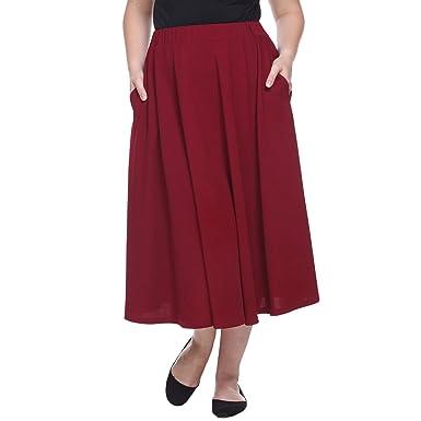 4b8202691d White Mark Women's ''Tasmin'' Flare Midi Skirt - Plus Size at Amazon ...