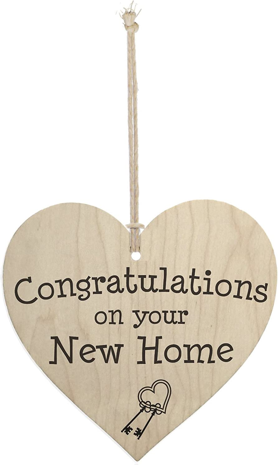 Meijiafei Congratulations On Your New Home Wooden Hanging Heart Plaque Moving in Present