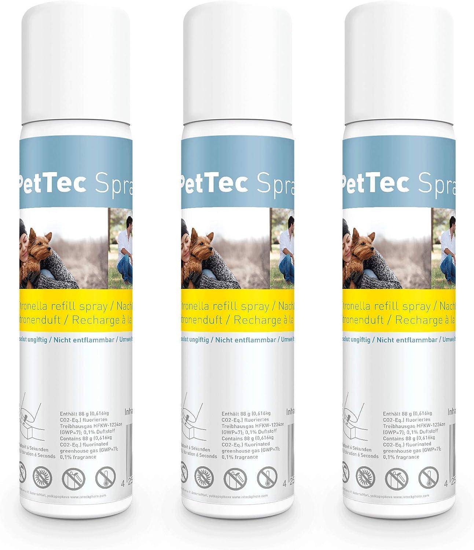 PetTec Spray Made in Germany, Lata de Repuesto para Collares de Entrenamiento, seguro para Perros y Personas, Respetuoso del Medio Ambiente y Antialérgico, ofrece un 25% más, Set de 1 o 3, 75 ml, Citr