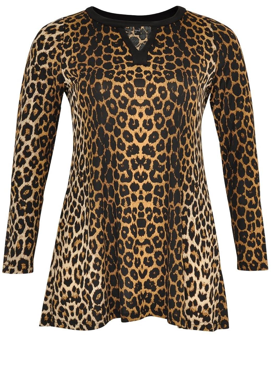 Yoek Damen Langarmshirt Tierdruck Plus Size