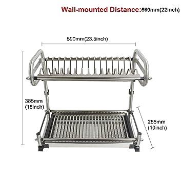 Probrico acero inoxidable de 2 niveles plato secado secador escurridor de platos plato cuenco de almacenamiento organizador Holder Montado en la pared ...