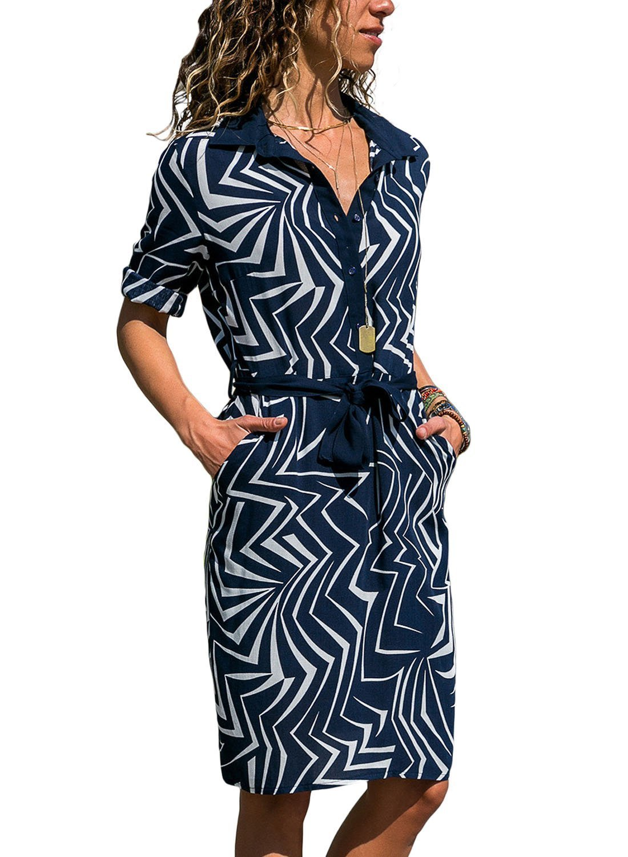 HOTAPEI Women Summer Casual 3/4 Sleeve V Neck Striped Boho Button Down Mini Sundress Short T Shirt Dress with Belt,X-Large